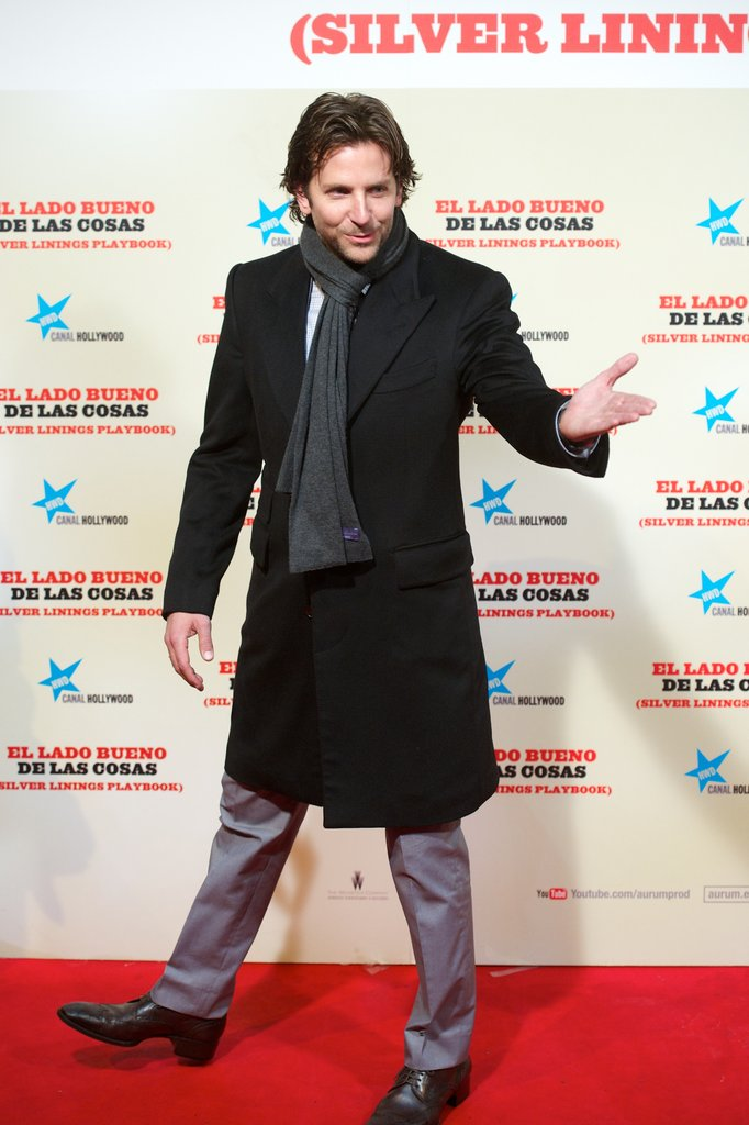 Bradley Cooper was all rugged up as he attended the Spanish premiere of his new film The Silver Linings Playbook on Jan 16.