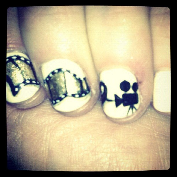 Check out Zooey Deschanel's Golden Globes nails! Source: Instagram user zooeydeschanel