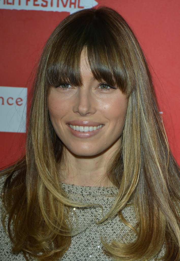Jessica Biel wore her hair down.