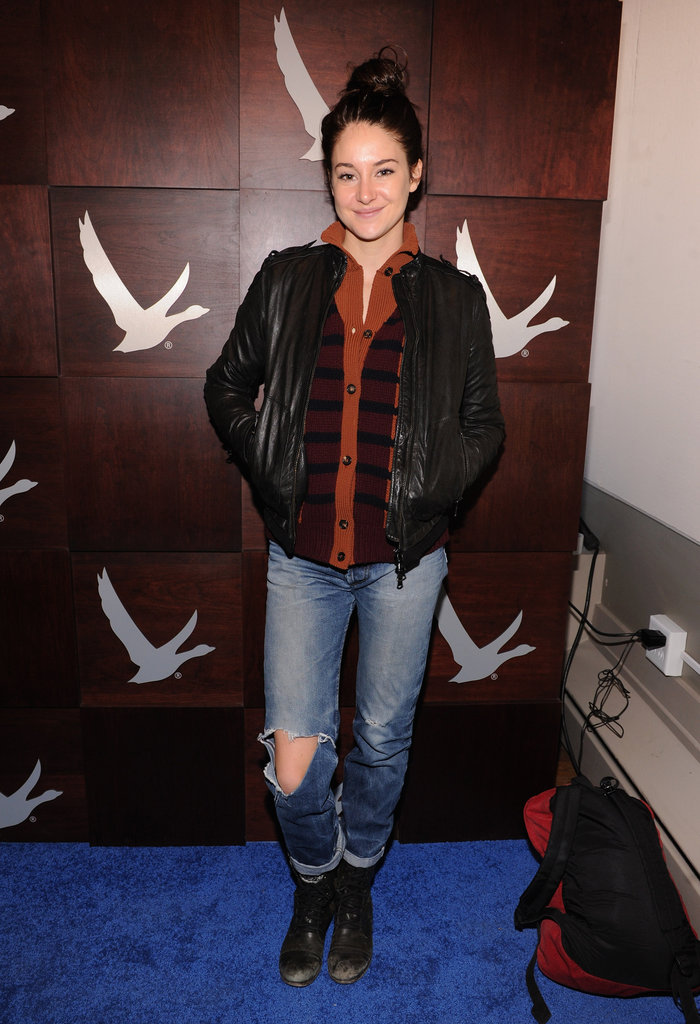 Shailene Woodley showed off her casual side in a striped Marni sweater and leather jacket on top and ripped jeans on the bottom.