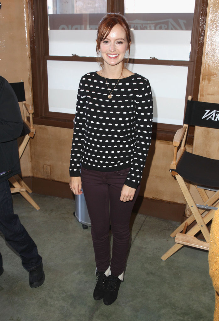 Ahna O'Reilly put a supercute spin on her wintry outfit, adding a printed sweater and fleece-lined booties to the mix.