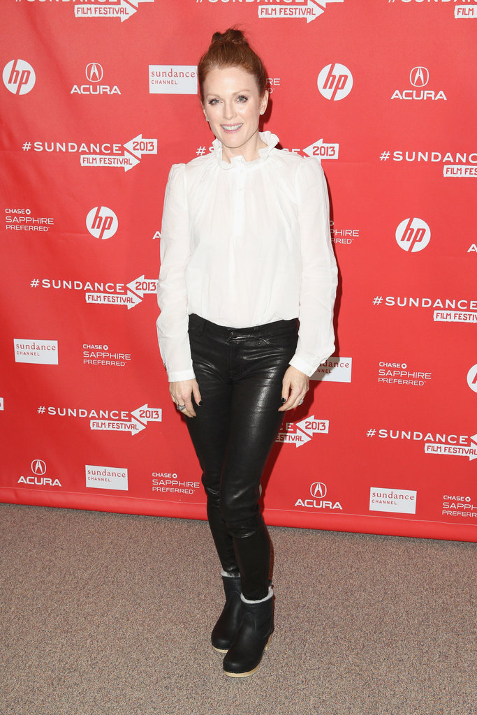 Julianne Moore donned black leather pants, a white silk blouse, and ankle boots to the premiere of Don Jon's Addiction.