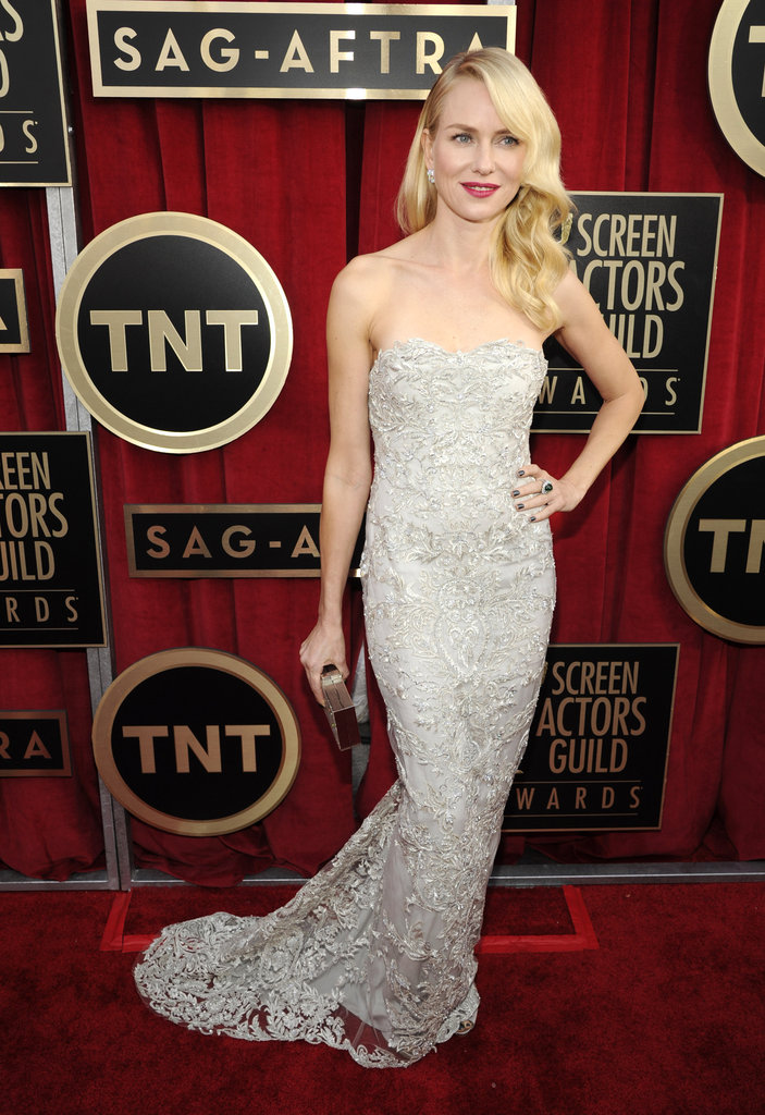 Naomi Watts exuded Old Hollywood glam in her silver strapless beaded Marchesa gown.