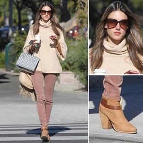 Alessandra Ambrosio Wearing Pink Jeans   Jan. 21, 2013