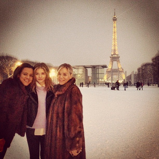Chloë Moretz visited the Eiffel Tower with her mum and a friend. Source: Instagram user cmoretz