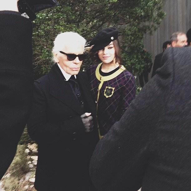Hailee Steinfeld posed with Karl Lagerfeld after the Chanel Couture runway show. Source: Instagram user haileesteinfeld