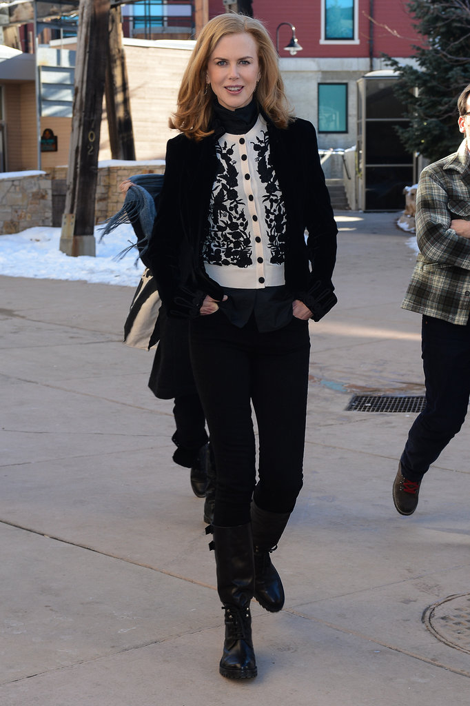 Nicole Kidman gave her cold-weather gear a pretty feel with an embroidered cardigan layered up underneath her coat.