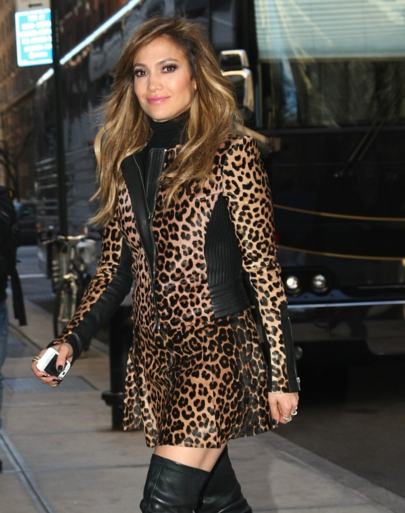 A zoom in on Jennifer's leopard and leather.