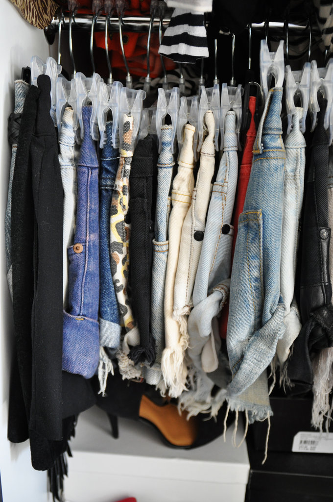 Everyone knows I love shorts, and I actually can't fit into one shot ALL of my shorts (I think I'm pushing 50 pairs!!!). All my shorts need to be hung, and I have them grouped by fabric — i.e. denim, leather, crochet, silk. . .  the list goes on. They are without a doubt my wardrobe essential.