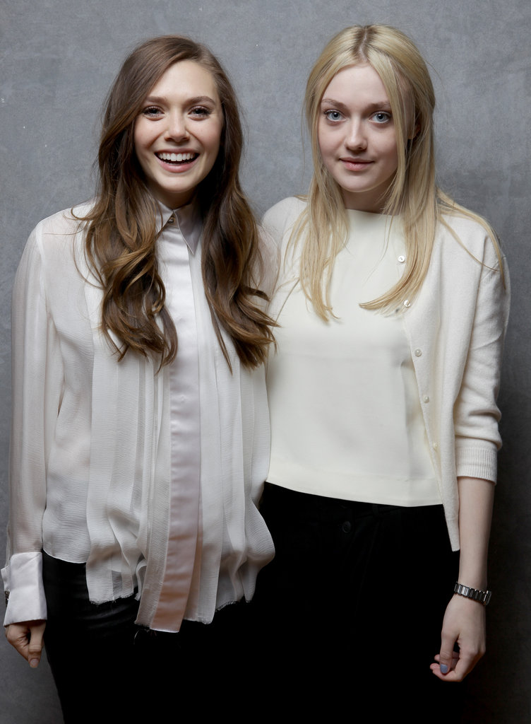 Elizabeth Olsen and Dakota Fanning — pretty ladies of Very Good Girls — were matching in white.