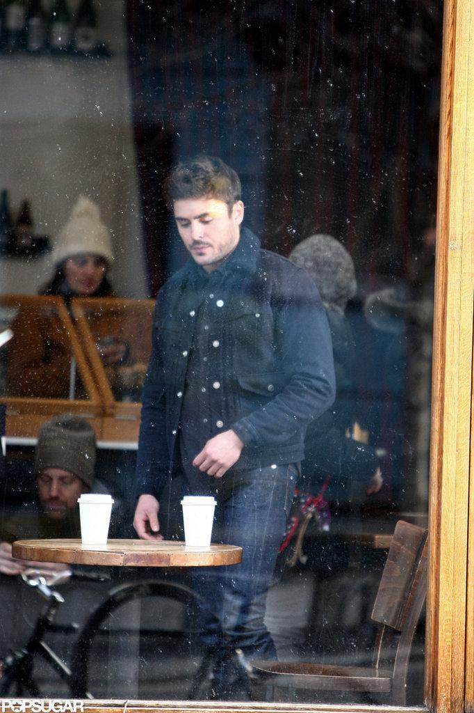Zac Efron filmed scenes in an NYC coffee shop.
