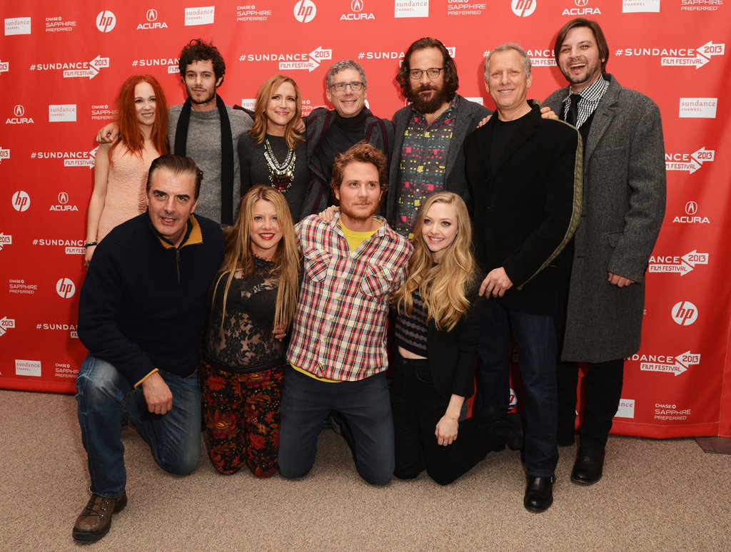 Amanda Seyfried, Brian Gattas, and Peter Sarsgaard smiled with the cast and crew at the Lovelace premiere in Park City.