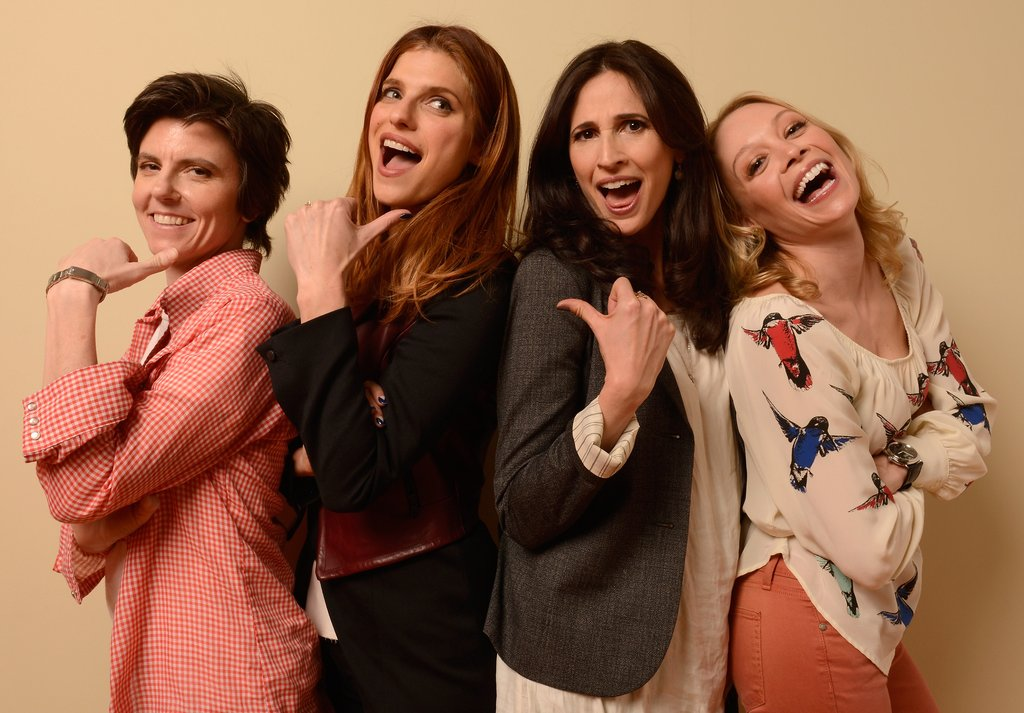 Tig Notaro, director Lake Bell, Michaela Watkins, and Alexandra Holden of In a World . . .  struck playful poses in Park City.