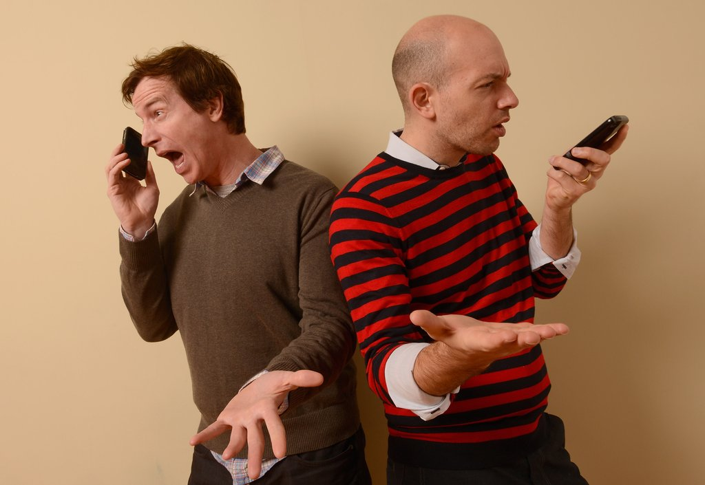Hell Baby stars Rob Huebel and Paul Scheer couldn't put down their cell phones during the shoot.