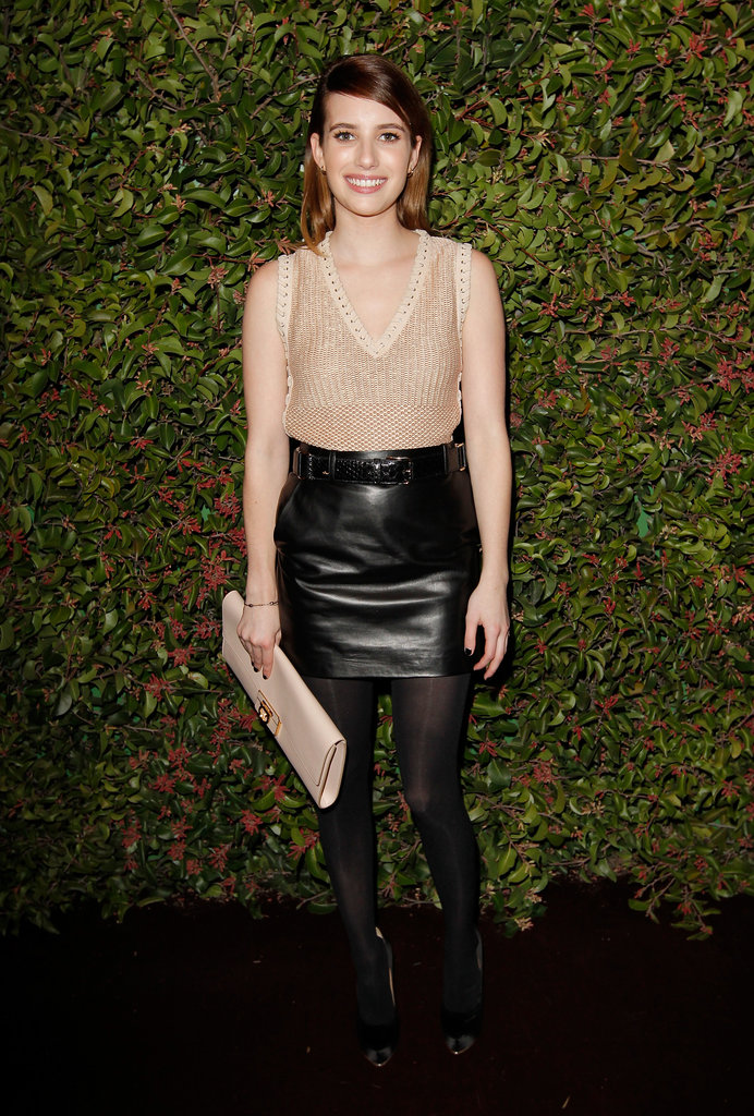 Emma Roberts wore a black leather skirt out in LA.