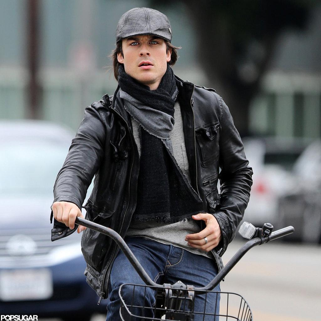 Ian Somerhalder Hops Off His Bike For a Manicure in Santa Monica