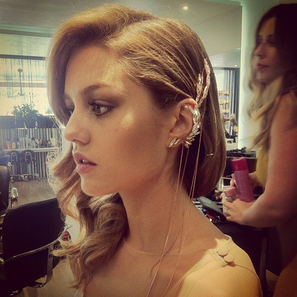 Isabelle Cornish pulled her hair back to expose a stunning piece of Ryan Storer ear jewellery while at a Kerastase Paris hair care event. Source: Instagram user isabellecornishh
