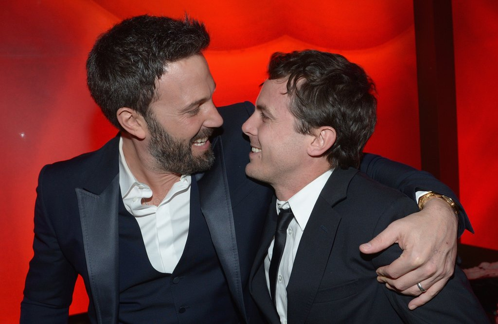 Ben Affleck shared his winning excitement with his younger brother, Casey, at Warner Bros.'s Golden Globes afterparty.