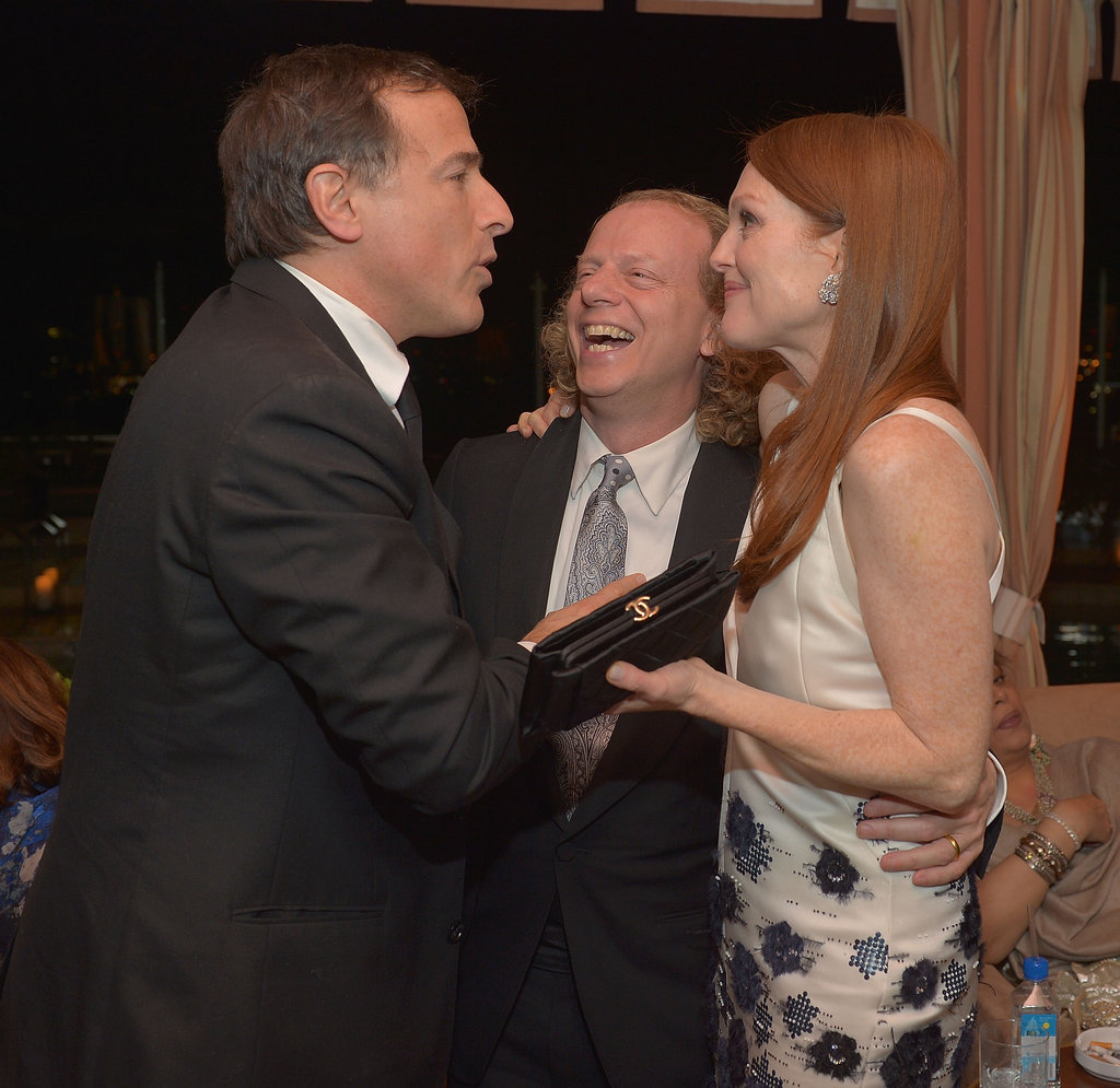 Julianne Moore shared a laugh with director David O. Russell and producer Bruce Cohen at the Weinstein Company SAGs party.