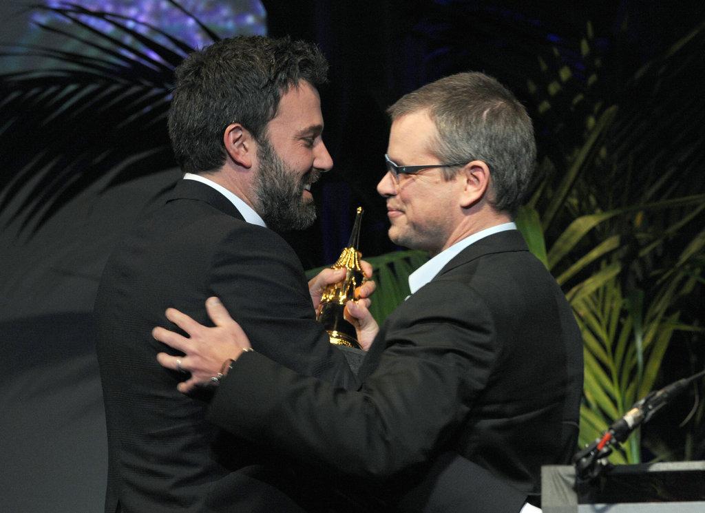 Ben Affleck accepted an honor at the Santa Barbara Film Festival from longtime friend Matt Damon.