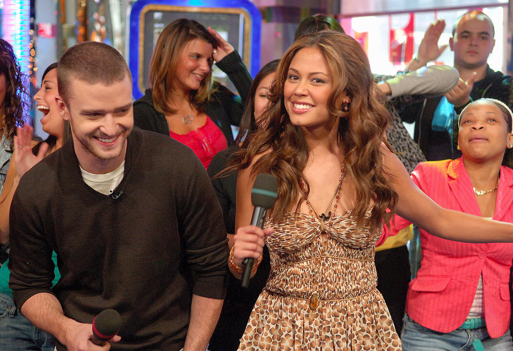 Justin Timberlake had fun with Vanessa Minnilllo while visiting TRL in September 2006.