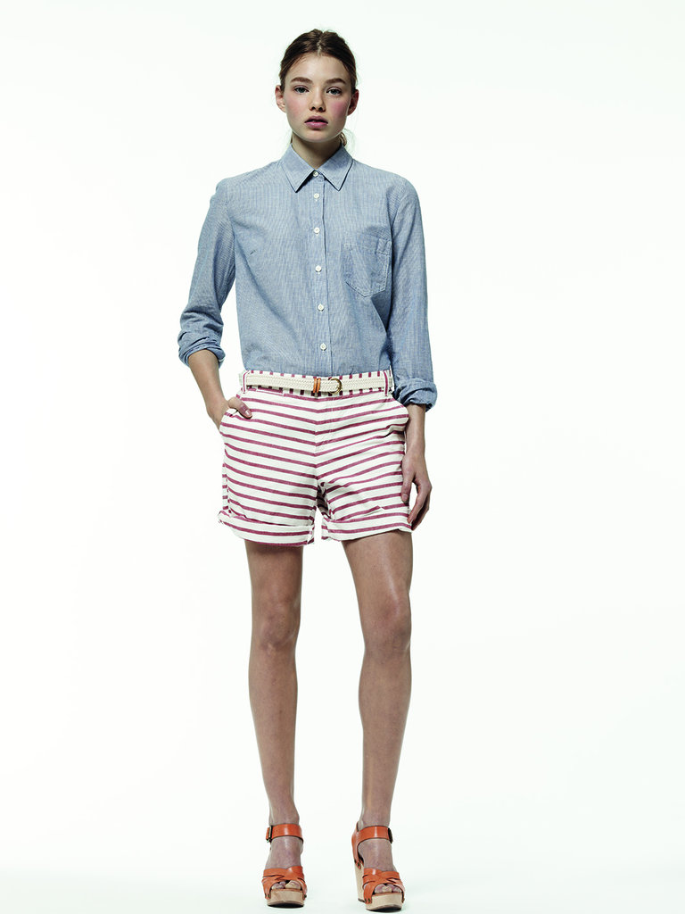 Americana has never looked cooler than right now. A pointed-collar top and striped shorts are Summer's answer to all-black Winter ensembles.