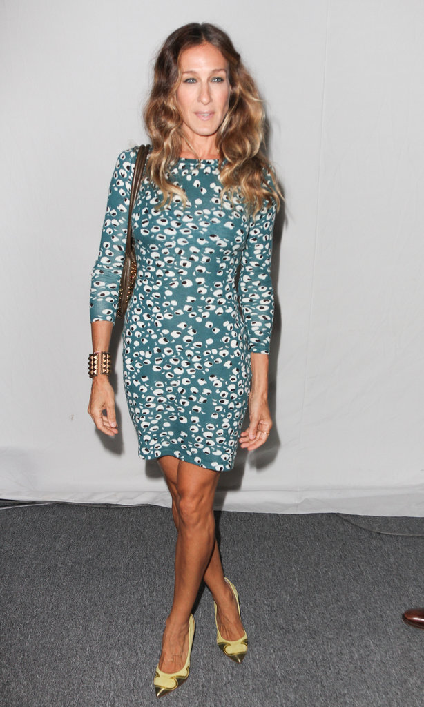 Sarah Jessica Parker brought her New York Fashion Week A-game in a Diane von Furstenberg dress, Nicholas Kirkwood metallic yellow pointy pumps, and a gold studded bracelet.