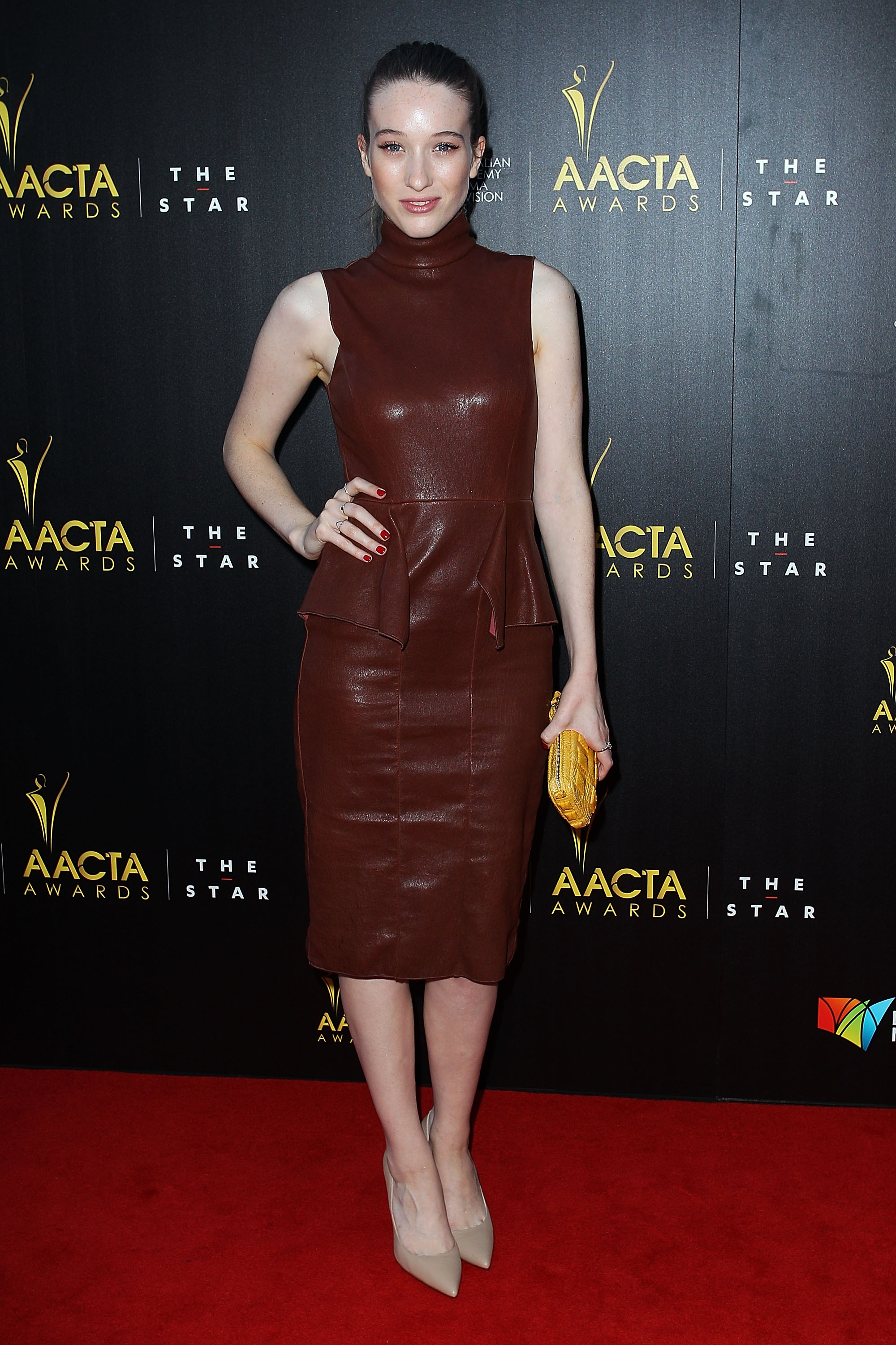 Sophie Lowe went for a leather frock to attend the AACTAs.