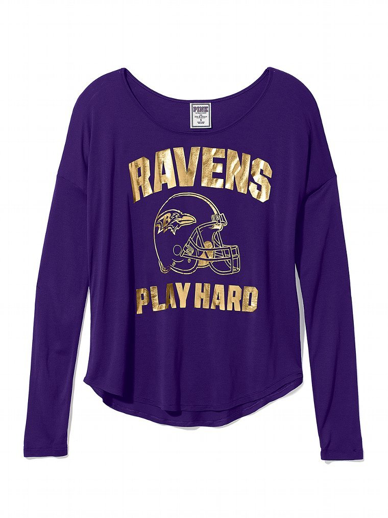 Don't hide your Ravens love — pair this Victoria's Secret Baltimore Ravens Drapey Tee ($23, originally $40) with jeans and wedge sneakers.