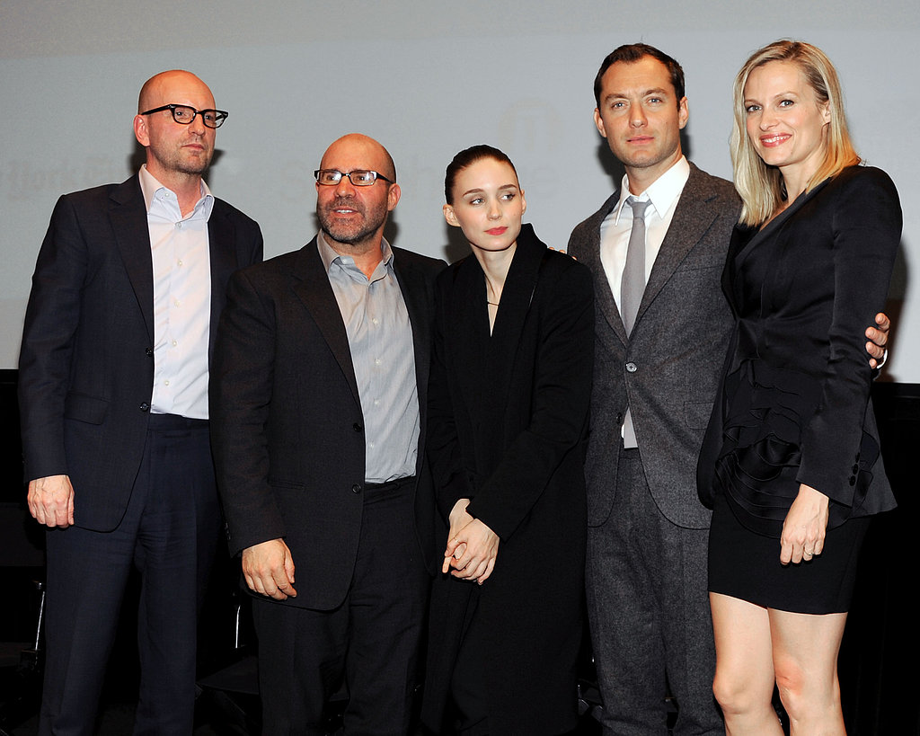 Steven Soderbergh, Scott Z. Burns, Rooney Mara, Jude Law, and Vinessa Shaw posed for photos at the Side Effects screening in New York.