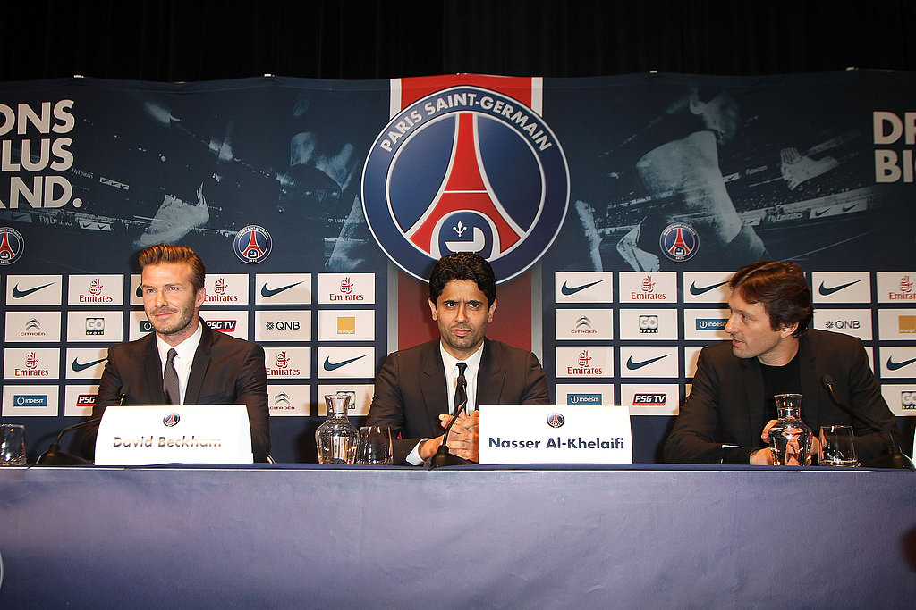 David Beckham spoke at a press event to announce his move to Paris St. Germain.