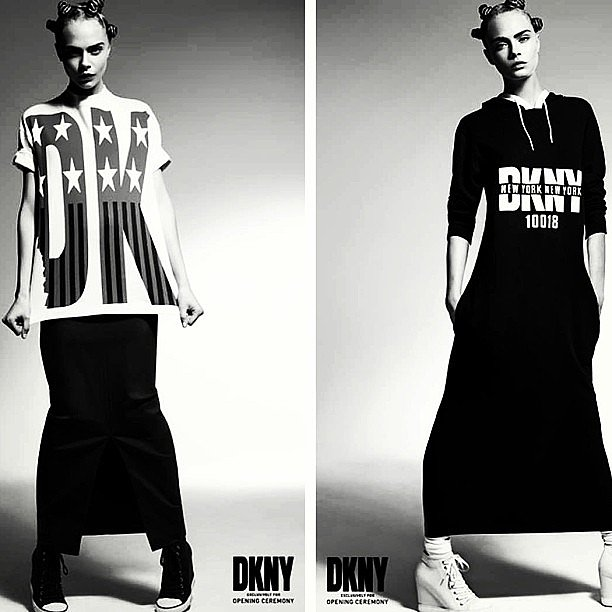 Cara Delevingne fronts the campaign of the latest DKNY x Opening Ceremony collaboration, complete with Gwen Stefani-inspired buns and retro wedge sneakers. Source: Instagram user CaraDelevingne
