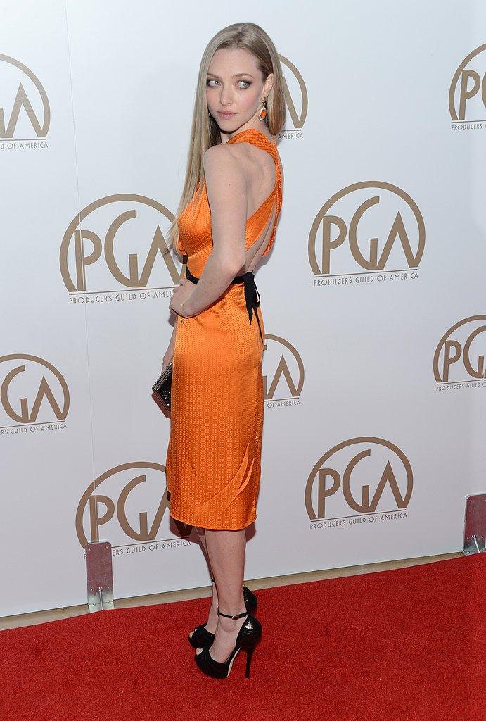 Also at the Producers Guild Awards on January 26, Amanda Seyfried turned her back on the cameras to show off the pretty detail of her dress.