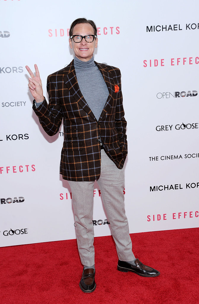 Carson Kressley wore a plaid blazer.