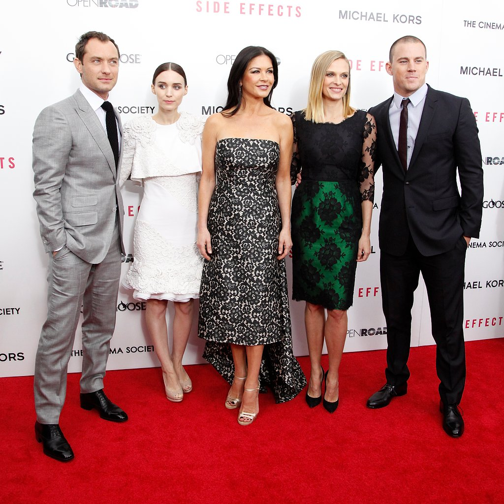 Side Effects stars Jude Law, Rooney Mara, Catherine Zeta-Jones, Vinessa Shaw, and Channing Tatum posed together on the red carpet.