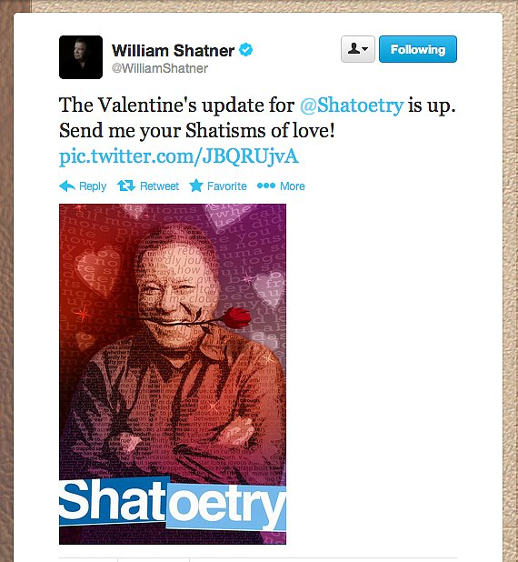 Former Captain Jim Kirk, otherwise known as William Shatner, cozied up to Valentine's with a love-themed update to his iPhone app, Shatoetry.