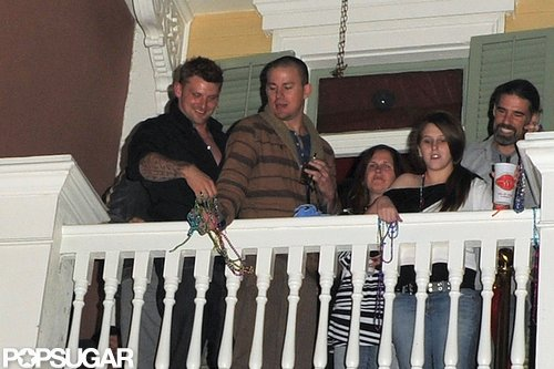 Channing Tatum played around with friends on the balcony of his bar in New Orleans Friday night.