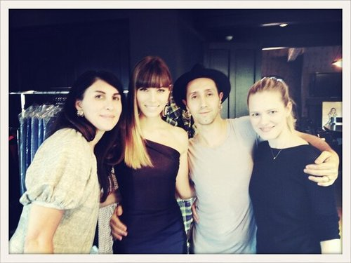 "Jessica Biel tweeted a picture of her with her ""dream team"" before the Grammys. Source: Twitter user JessicaBiel"