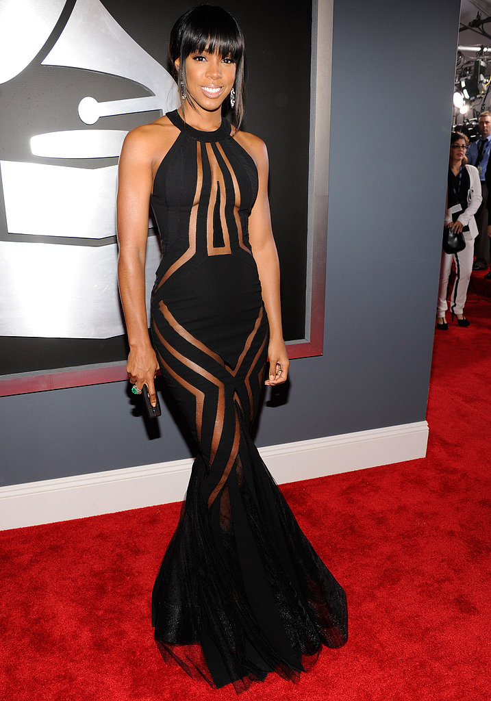 Kelly Rowland wore a sheer black dress on the Grammys red