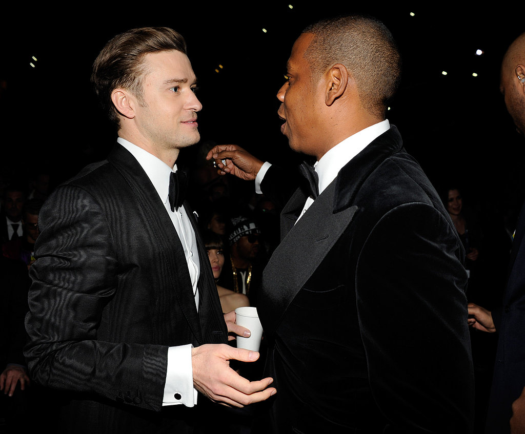 Justin Timberlake went in for a hug with Jay-Z.