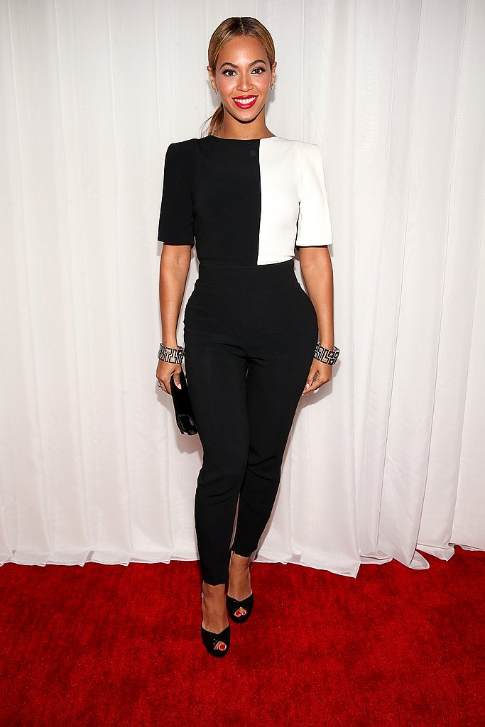 Beyoncé rocked the red carpet in a black and white jumpsuit by Osman Yousefzada.