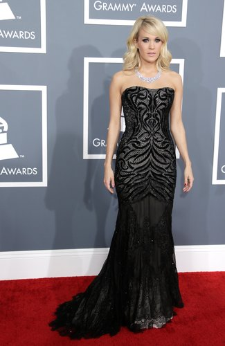Carrie Underwood hit the red carpet in a Roberto Cavalli gown.