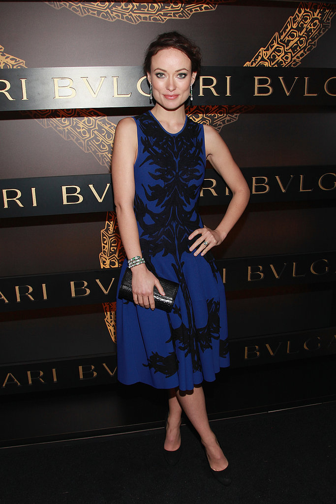 Olivia Wilde posed in blue at a Bulgari event in NYC for Fashion Week in February.