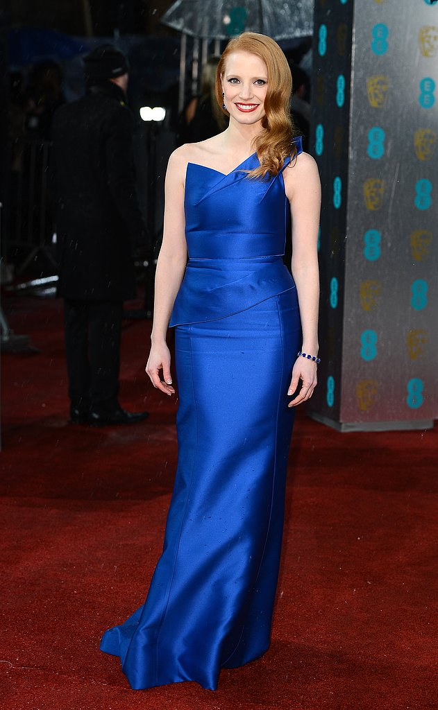 Jessica Chastain wore a bright blue Roland Mouret gown.