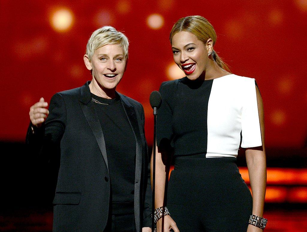 Ellen DeGeneres and Beyoncé presented together.