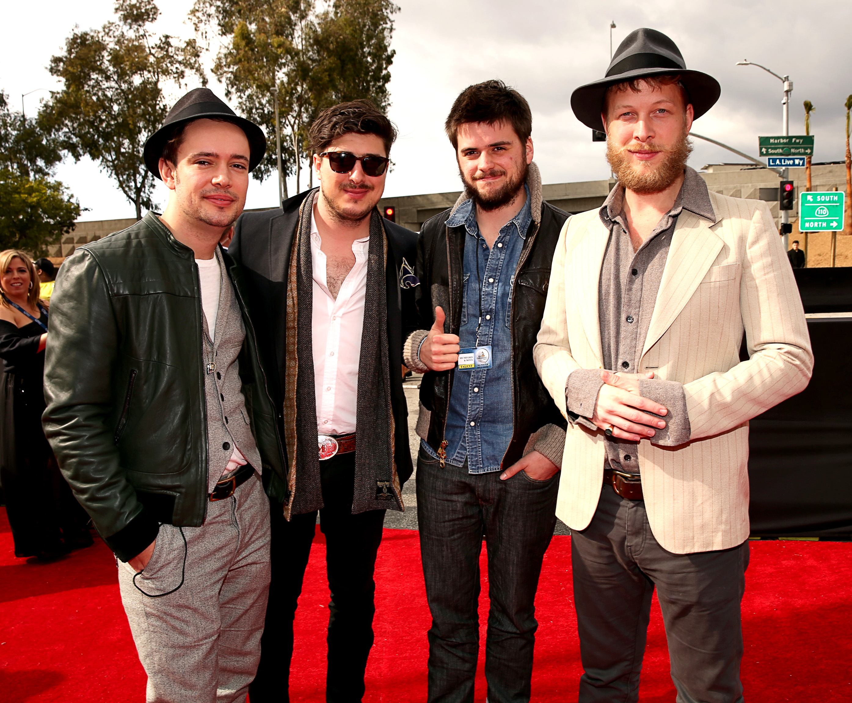 Marcus Mumford, Ben Lovett, Winston Marshall, and Ted Dwane hit the red carpet for the Grammys.