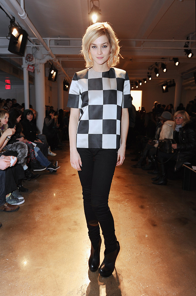 At the Alexandre Herchcovitch show, Leigh Lezark kept it mod in a checkered Louis Vuitton tee and skinny black jeans.