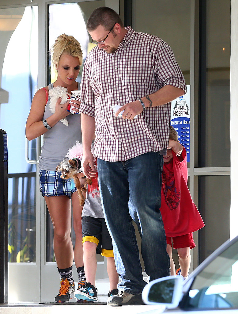 Britney Spears wore plaid short shorts and a gray tank top Sunday during a vet visit in West Lake Village.