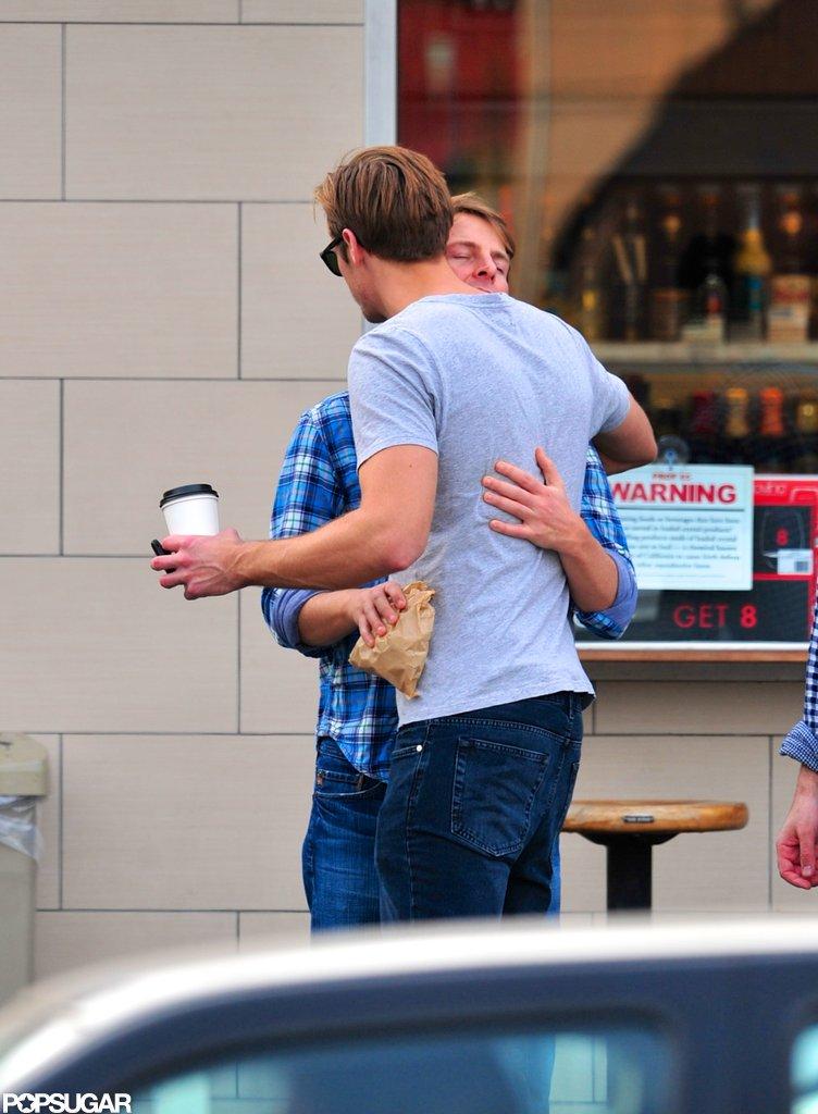 Alexander Skarsgard and Jack McBrayer shared a hug.