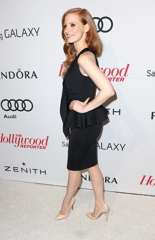Jessica Chastain sported a black peplum dress.